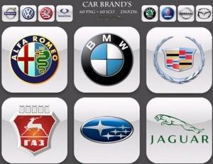 60 высококачественных иконок всемирно известных автомобильных брендов.  Разрешение 256х256.